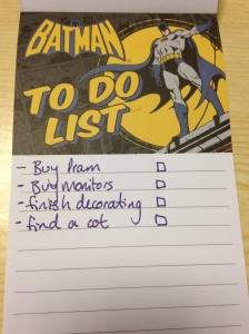 """The start of my """"to do"""" list"""